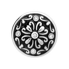 Button schwarz-silbernes-Muster Zirkonia
