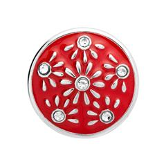 Button Emaille rote Sonnen Zirkonia