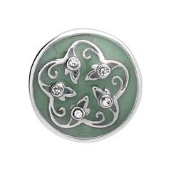 Button grüne Emaille Blüte Zirkonia