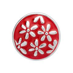 Button Emaille rote-silbernes Blumenmuster BT0041