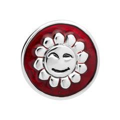 Button rötliche Emaille lächelnde Sonne