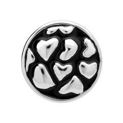 Button Emaille dunkel Herzen