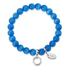 Charm Armband mit Perlen blau 15,5 bis 19,5cm
