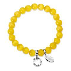 Charm Armband mit Perlen gelb 15,5 bis 19,5cm