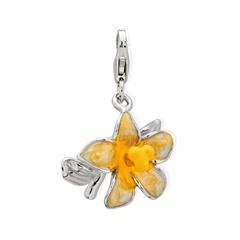 Exklusiver 925 Silber Charm Blume zum Einhängen