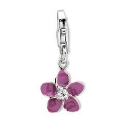 Silber Charm Blume mit Karabiner