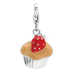 925 Silbercharm Muffin mit Erdbeere