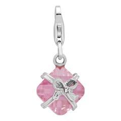 925 Silbercharm Geschenk mit pinkem Zirkonia