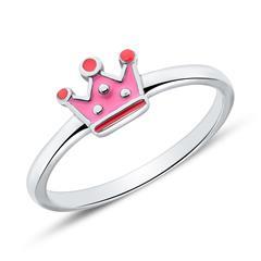 Ring Krone für Mädchen aus 925er Silber, gravierbar