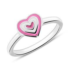 Gravierbarer Kinder Ring Herz aus Sterlingsilber