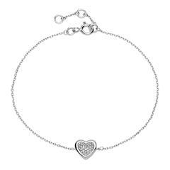 Herzarmband aus 14K Weißgold mit Diamantbesatz