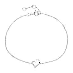 Diamantarmband Herz aus 585er Weißgold