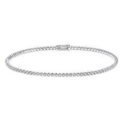 Tennisarmband für Damen aus 585er Weißgold, Diamanten