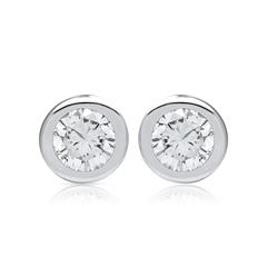 Polierte Goldohrstecker mit Diamanten 0,08 ct.