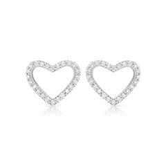 Weißgold Herz-Ohrstecker mit Diamanten 0,21 ct.