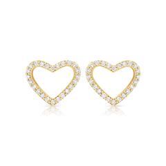 Goldherzstecker mit echtem Diamantbesatz 0,21ct.