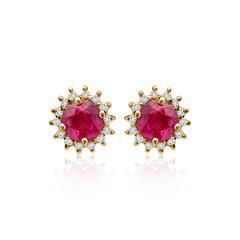 Diamantohrstecker mit Rubinen 0,556 ct gesamt