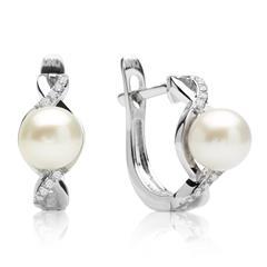 Diamant Creolen 0,15 ct gesamt Perle Weißgold