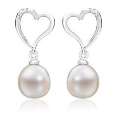 Weißgold-Ohrringe Perlen 4 Diamanten 0,032 ct.