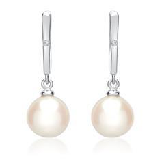 Weißgold-Ohrringe Perlen 2 Diamanten 0,018 ct.