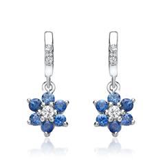 White Gold Earrings Sapphires 0,42ct Diamonds
