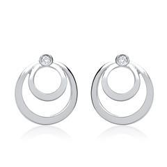 585er Weißgold-Ohrstecker Spirale 2 Diamanten