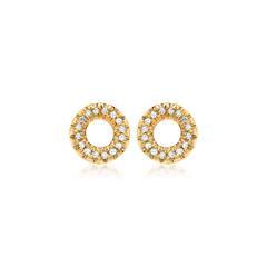 585er Gelbgold-Ohrstecker 32 Diamanten 0,11ct.