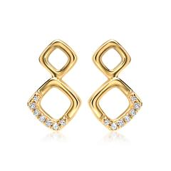 585er Gelbgold-Ohrstecker 14 Diamanten 0,05ct.