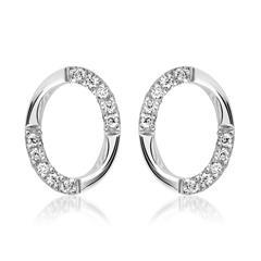 585er Weißgold-Ohrstecker Oval 20 Diamanten