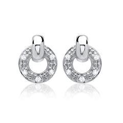 585er Weißgold-Ohrringe 10 Diamanten 0,06 ct.