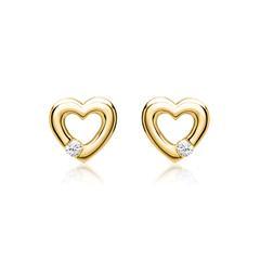 Ohrringe 585er Gelbgold 2 Diamanten 0,052 ct.