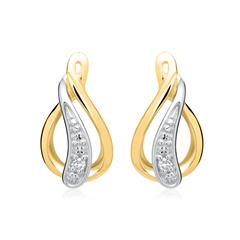 Ohrringe 585er Gelbgold 2 Diamanten 0,0112 ct.