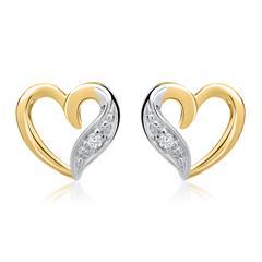 585er Gelbgold-Ohrringe Herz 2 Diamanten 0,02ct.