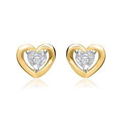 585er Gelbgold-Ohrringe Herz 2 Diamanten