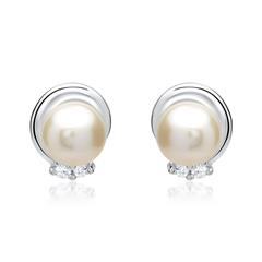 585er Weißgold-Ohrringe Perle 4 Diamanten