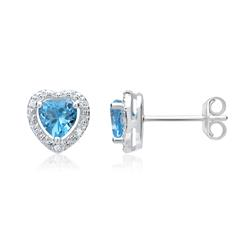 585er Ohrringe 2 Topase 1,2 ct. 10 Diamanten 0,04 ct.