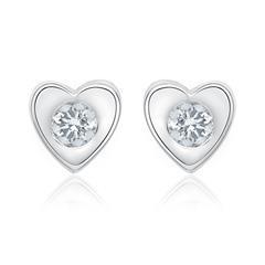 Weißgold-Ohrstecker Herz 2 Diamanten 0,10 ct.
