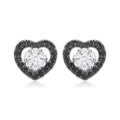 Ohrstecker 585 Weißgold schwarze weiße Diamanten