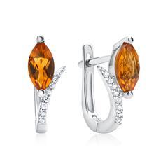 585er Weißgold Creolen 16 Diamanten und Citrinen
