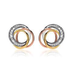 Ohrstecker 585er Weißgold tricolor Diamanten