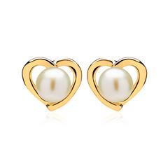 585er Gold Ohrstecker Herz mit Süßwasserperlen