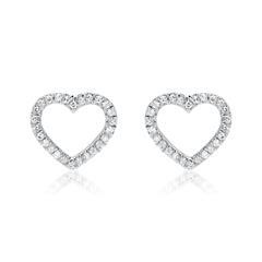 585er Weißgold Herzohrstecker mit Diamanten