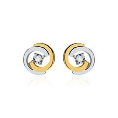 Diamantohrstecker Kreise aus 14 K Gold bicolor
