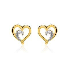 Herzohrstecker aus 585er Gold mit Diamanten