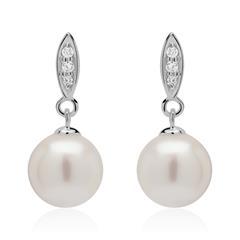 Ohrstecker aus 585er Weißgold mit Perlen und Diamanten