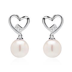 Ohrstecker Herzen aus 14K Weißgold mit Perlen Diamanten