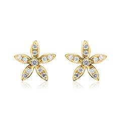 14k Gold Ohrstecker Blüten Diamanten