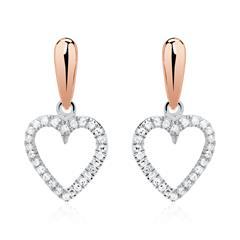 Herz Ohrstecker aus 14K Roségold mit Diamanten