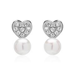 Perlenohrstecker Herzen aus 14K Weißgold mit Diamanten