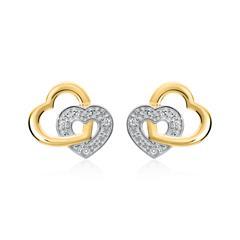 Herzohrstecker aus 14K Gold mit Diamanten